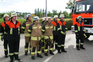 Angetretene Gruppe der Feuerwehr Dornach bei der Leistungsprüfung Wasser 2016
